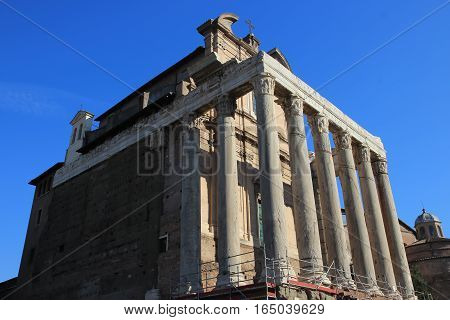 Temple of Antoninus and Faustina ancient Roman temple in Rome Italy