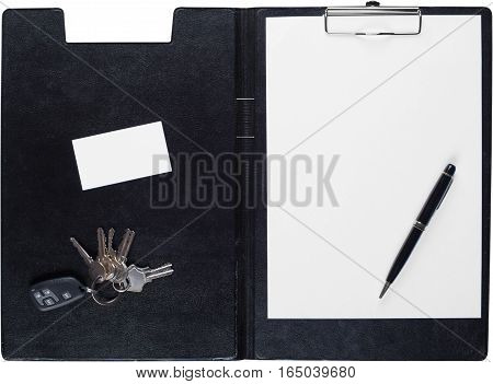 Clipboard with Blank Paper, Pen, Businesscard and Keys - Isolated