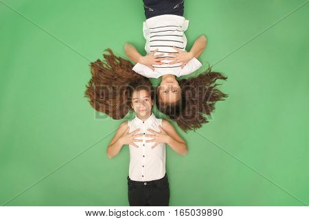 Portrait of two young girls with long hair top view isolated on green