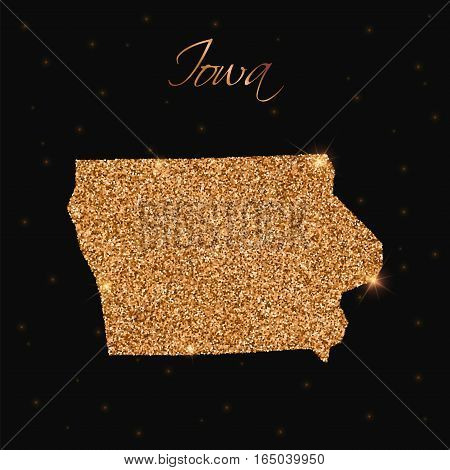 Iowa State Map Filled With Golden Glitter. Luxurious Design Element, Vector Illustration.