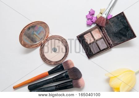 beauty product and make up isolated on a white background