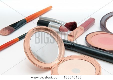 Make Up Set, Contents Of Make Up Bag Isolated On White