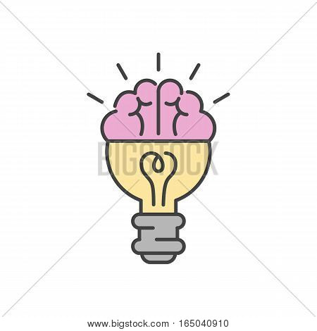 Light lamp sign icon vector illustration. Creative illumination graphic inspiration power electricity. Fluorescent brainstorm object innovation equipment.