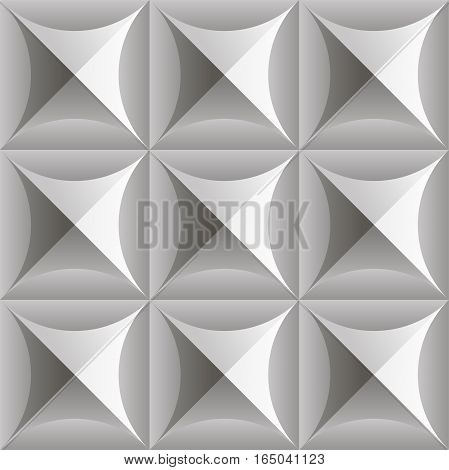 3d illustration. Seamless vintage white texture based on the intersection of circles and squares in relief. Vector.
