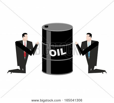Businessman Praying For Oil. Prayer Barrel Of Petroleum. Pray For Fuel