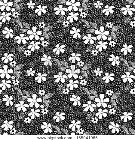 White seamless lacy lace pattern on black background