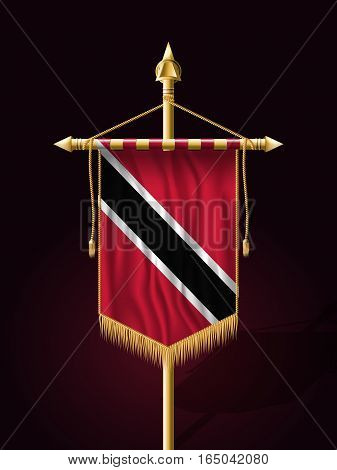 Flag Of Trinidad And Tobago. Festive Vertical Banner With Flagpole