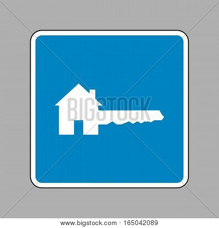 Home Key sign. White icon on blue sign as background.