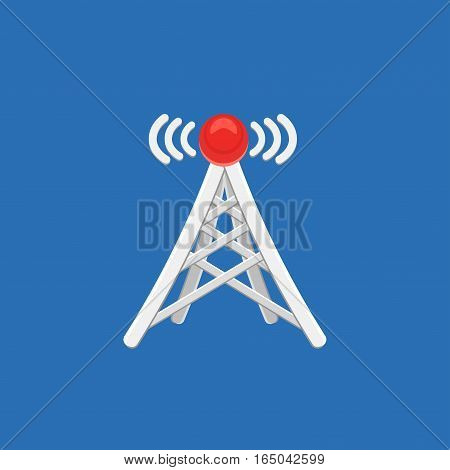 Antenna tower icon with signal. Vector illustration.