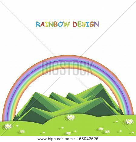 Background with mountain landscape below on white. Green hills, valley with white daisies, rainbow. Modern flat design, design element, vecto