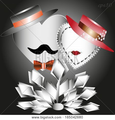He, she and a bouquet of white tulips Abstract holiday valentine love heart two author paper flower design style hat mustache lips red retro romance tie eps10 stock vector illustration greeting card