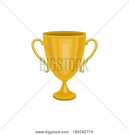 Gold trophy winner cup. Winner Icon isolated on white background. Vector illustration.