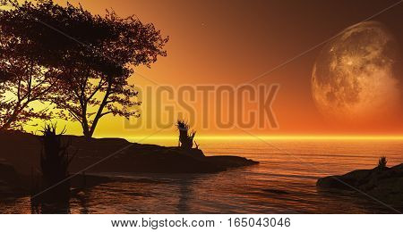 3d illustration fantasy scenery with planet in the background strange fog and alien plant in the foreground