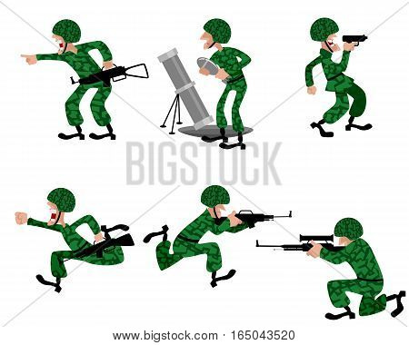 Vector illustration of a six military man