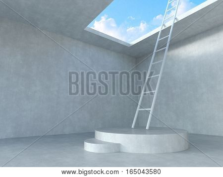 Ladder on podium up to the sky with concrete room  background. 3D rendering illustration.