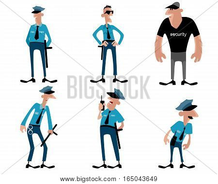 Vector illustration of a six guards set