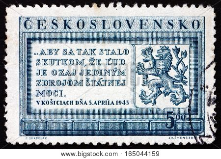 CZECHOSLOVAKIA - CIRCA 1950: a stamp printed in Czechoslovakia shows Text of Government Program and Heraldic Lion circa 1950