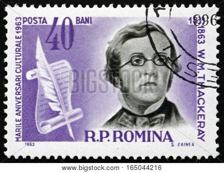 ROMANIA - CIRCA 1963: a stamp printed in Romania shows William Makepeace Thackeray English Writer circa 1963