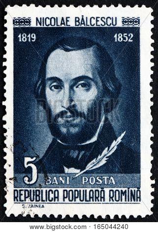 ROMANIA - CIRCA 1958: a stamp printed in Romania shows Nicolae Balcescu Romanian Writer circa 1958
