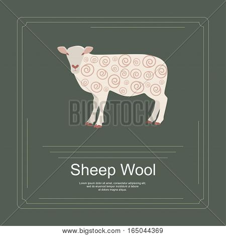 Logotype of sheep wool in flat design. Perfect organic farm products banner or flyer. Vector illustration. eps 10