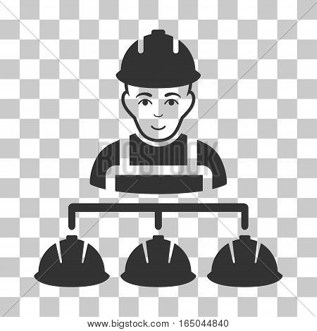 Builder Management vector pictograph. Illustration style is flat iconic gray symbol on a chess transparent background.
