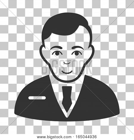 Businessman vector icon. Illustration style is flat iconic gray symbol on a chess transparent background.