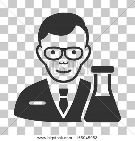 Chemist vector icon. Illustration style is flat iconic gray symbol on a chess transparent background.