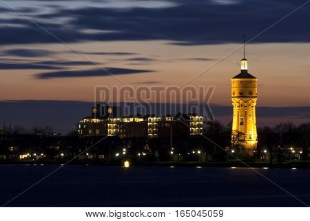 The water tower from Zwijndrecht in the Dutch province South Holland just after sunset
