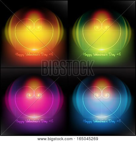 Abstract vector banner set of 4. Design elements for Valentine's Day cards. Heart of two Fibonacci Spiral. Isolated with realistic light and shadow on the dark panel. Vector illustration. Eps10.
