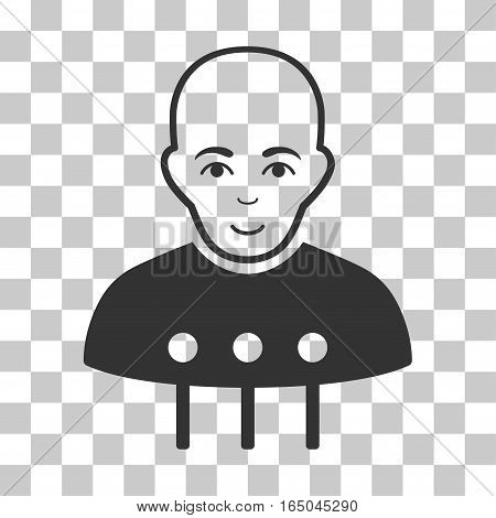 Cyborg Interface vector pictogram. Illustration style is flat iconic gray symbol on a chess transparent background.