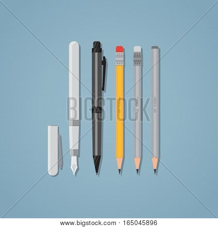 Set of office writing items. Black ball pen and nib. Wooden pencils with erasers. Flat style illustration.