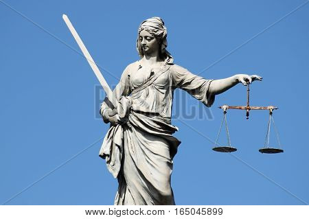 Statue of Lady Justice in Dublin, Ireland