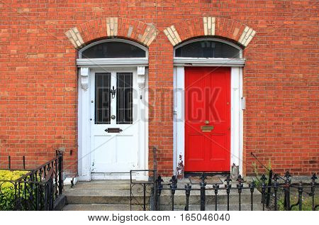 Typical Georgian doors in the downtown of Dublin, Ireland