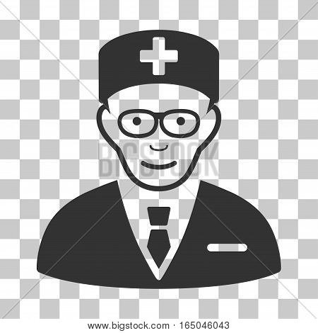 Head Physician vector pictograph. Illustration style is flat iconic gray symbol on a chess transparent background.