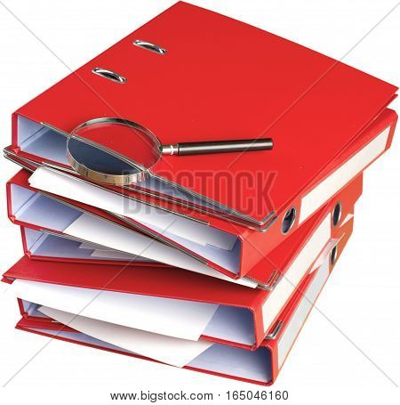 File organizers/binders with a magnifying glass on top