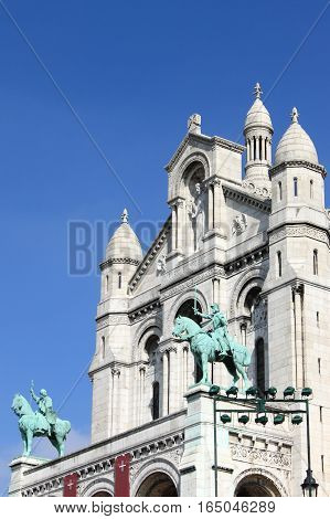Facade of the Basilica of the Sacre Coeur in Paris, France