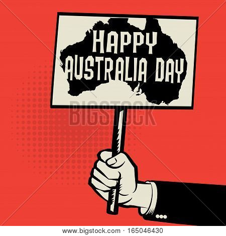 Poster in hand business concept with text Happy Australia Day vector illustration