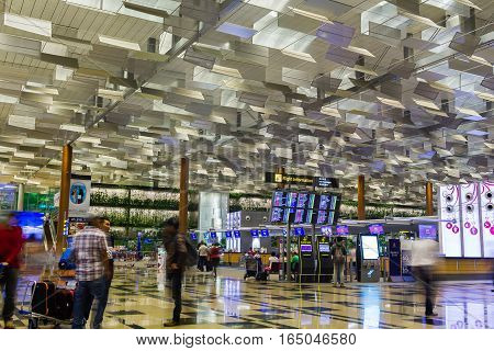 Singapore Changi International Airport Departure Hall, Visitors Walk Around Departure Hall In Changi