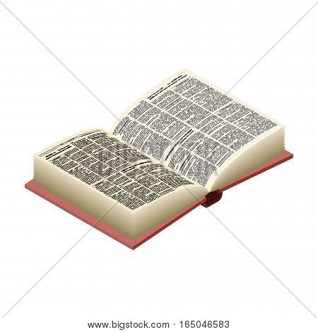 Open Book Isolated. Opened Old Volume On White Background