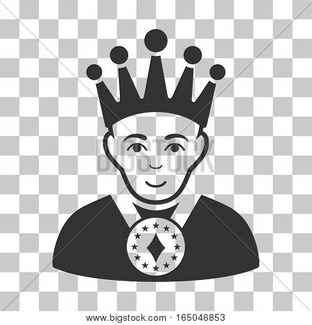 King vector icon. Illustration style is flat iconic gray symbol on a chess transparent background.