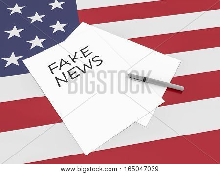 Note Fake News With Pen On US Flag Stars And Stripes 3d illustration