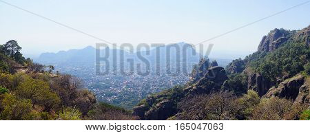 Panorama view of Tepoztlan a small touristic village in the mexican state of Morelos.