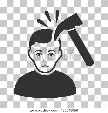 Murder With Hammer vector pictogram. Illustration style is flat iconic gray symbol on a chess transparent background.