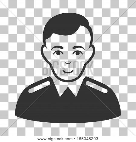 Officer vector pictograph. Illustration style is flat iconic gray symbol on a chess transparent background.