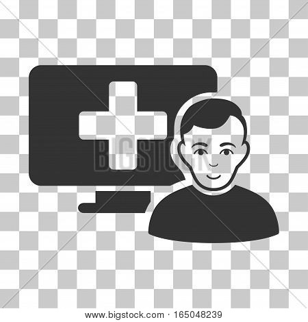 Online Medicine vector pictograph. Illustration style is flat iconic gray symbol on a chess transparent background.