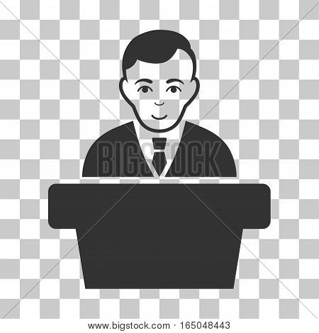 Politician vector pictogram. Illustration style is flat iconic gray symbol on a chess transparent background.