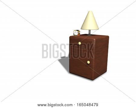 Wooden covered nightstand, clock, night lamp 3d