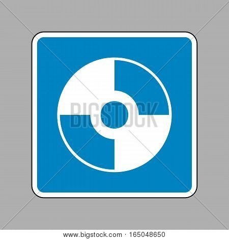 Vector Cd Or Dvd Sign. White Icon On Blue Sign As Background.