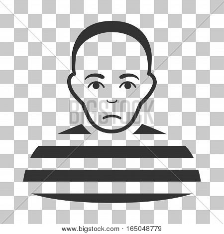 Prisoner vector pictogram. Illustration style is flat iconic gray symbol on a chess transparent background.