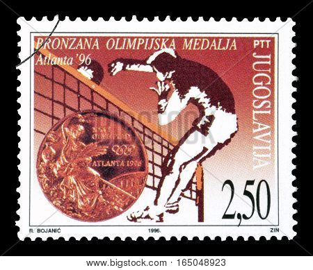 YUGOSLAVIA - CIRCA 1996 : Cancelled postage stamp printed by Yugoslavia, that shows Volleyball.